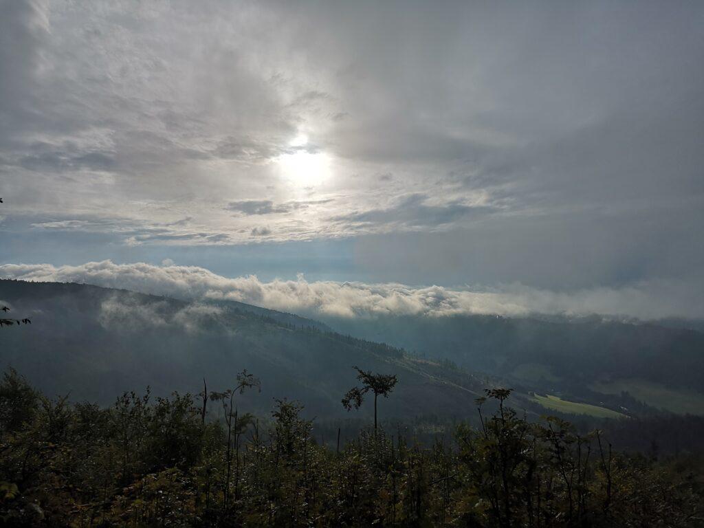 góry, krajobraz, chmury, słońce