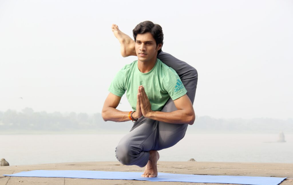 joga, przysiad mężczyzna, nawyk